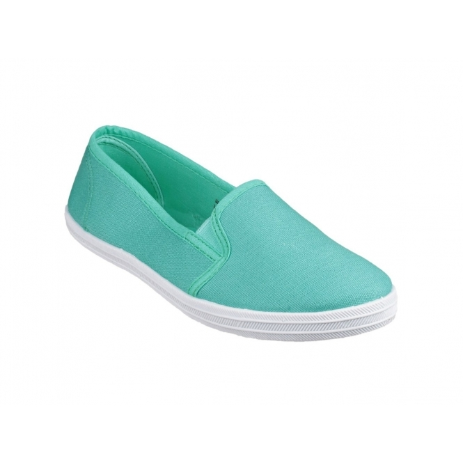 Divaz GARLAND Ladies Slip-On Canvas Plimsolls Mint