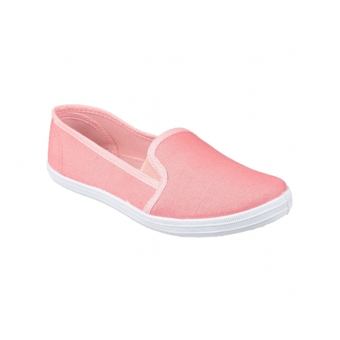 Divaz GARLAND Ladies Slip-On Canvas Plimsolls Pink