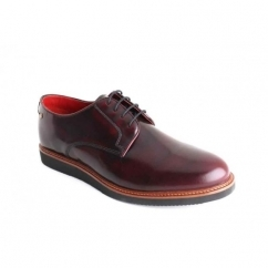 GARRICK Mens Hi Shine Leather Lace Up Shoes Oxblood