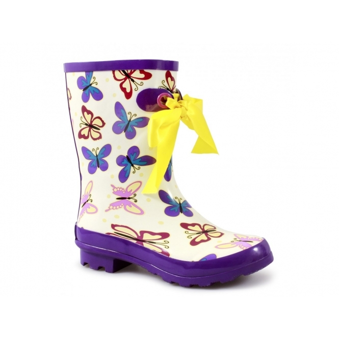 Cotswold GATCOMBE Ladies Bow Wellington Boots Purple/White Butterfly
