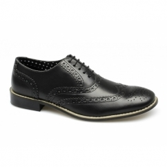 GATSBY Mens Leather Brogue Shoes Black