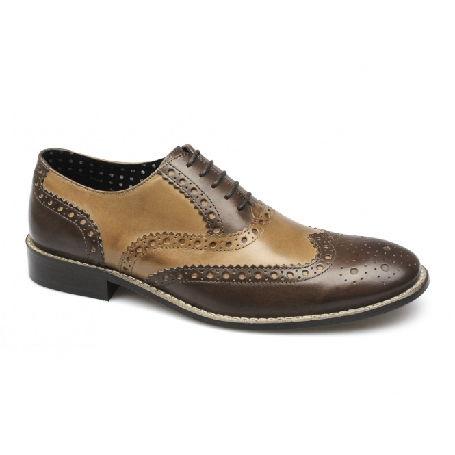London Brogues GATSBY Mens Leather Brogue Shoes Brown/Tan