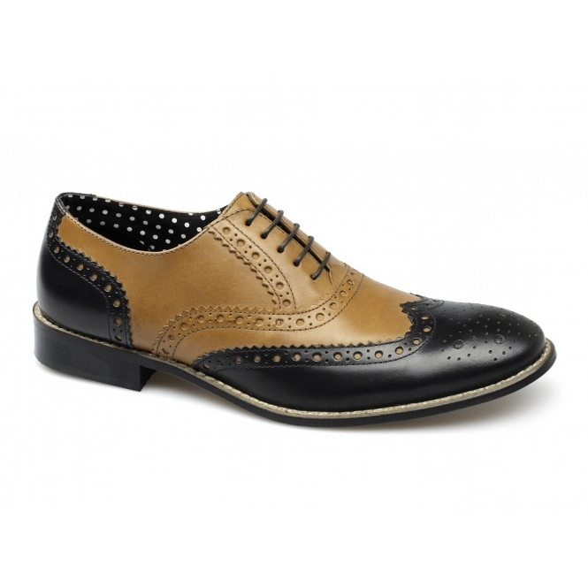 London Brogues GATSBY Mens Leather Brogue Shoes Tan/Black