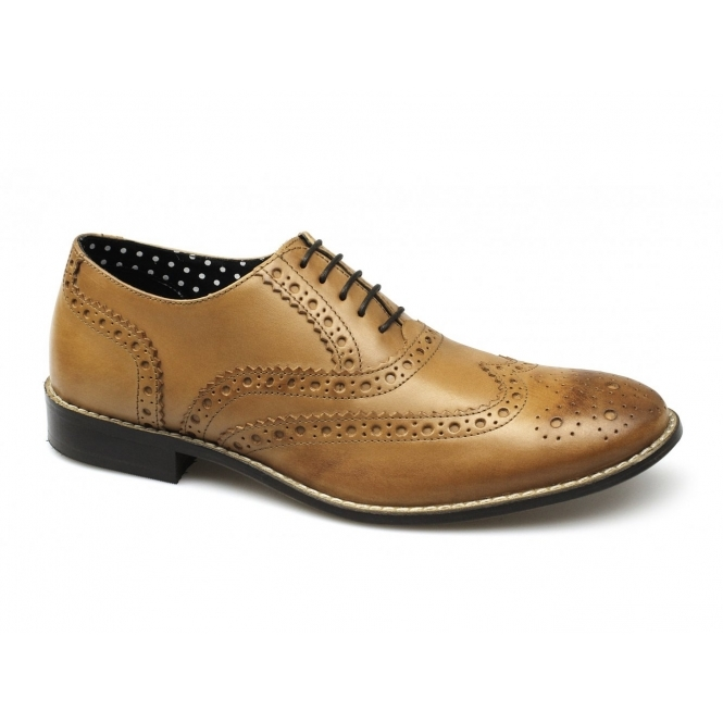 London Brogues GATSBY Mens Leather Brogue Shoes Tan