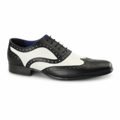 GATSBY Mens Leather Brogues Black/White