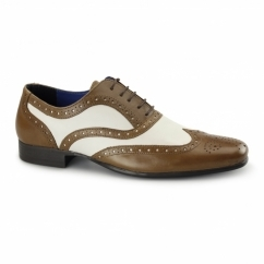 GATSBY Mens Leather Brogues Tan/White