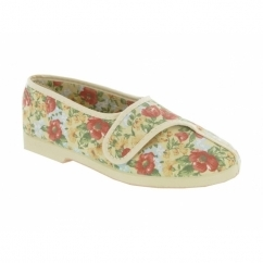 WENDY Ladies Cotton Floral Velcro Slippers Beige
