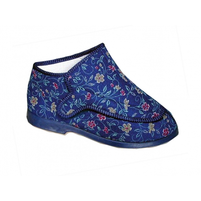 GBS RHONA Ladies Extra Wide (5E) Fitting Floral Velcro Slippers Blue