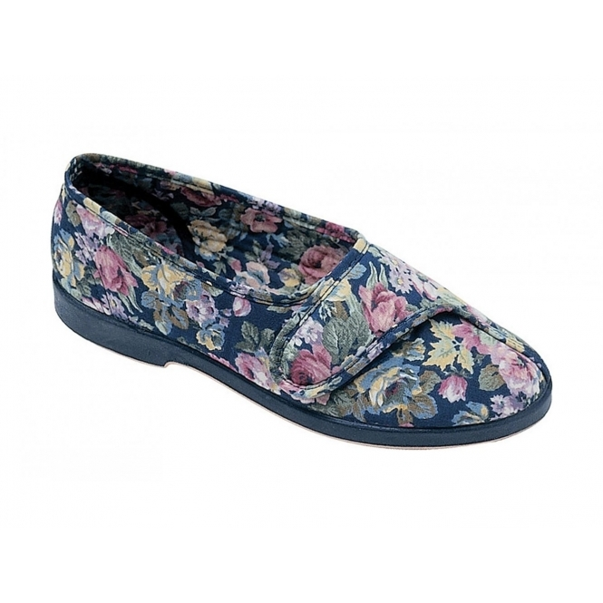GBS WENDY Ladies Cotton Floral Velcro Slippers Blue