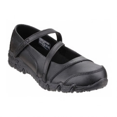 GEMZ FOGLIGHTS Girls Touch Fasten School Shoes Black