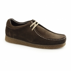 GENESIS Mens Suede Leather Moccasin Shoes Brown