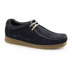 GENESIS Mens Suede Leather Moccasin Shoes Navy