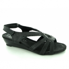 GENEVA Ladies Ruched Frill Slingback Open Sandals Black