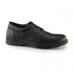 GEORGE HANSTON Mens Leather Derby Shoes Black