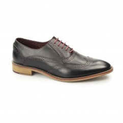 GEORGE Mens Leather Brogue Shoes Black