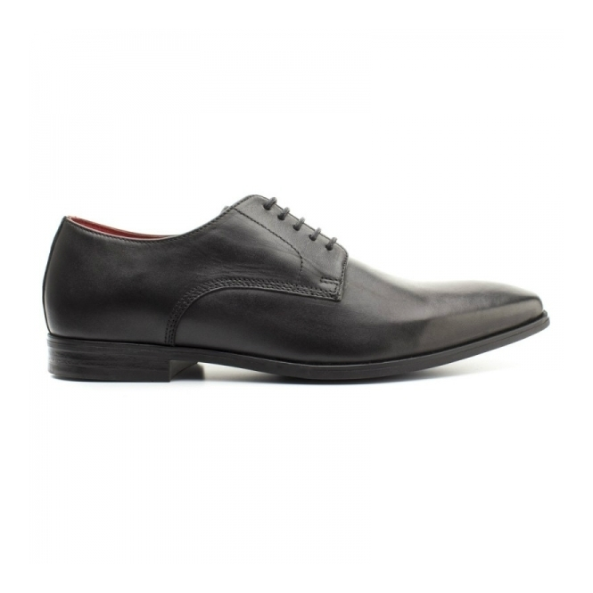 Base London GEORGE Mens Waxy Leather Derby Shoes Black