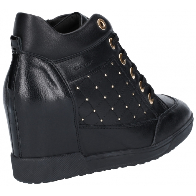 Permiso America Leer  GEOX CARUM Ladies Leather Wedge Heel Ankle Boots Black | Shuperb