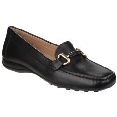 EURO Ladies Leather Comfort Moccasin Shoes Black