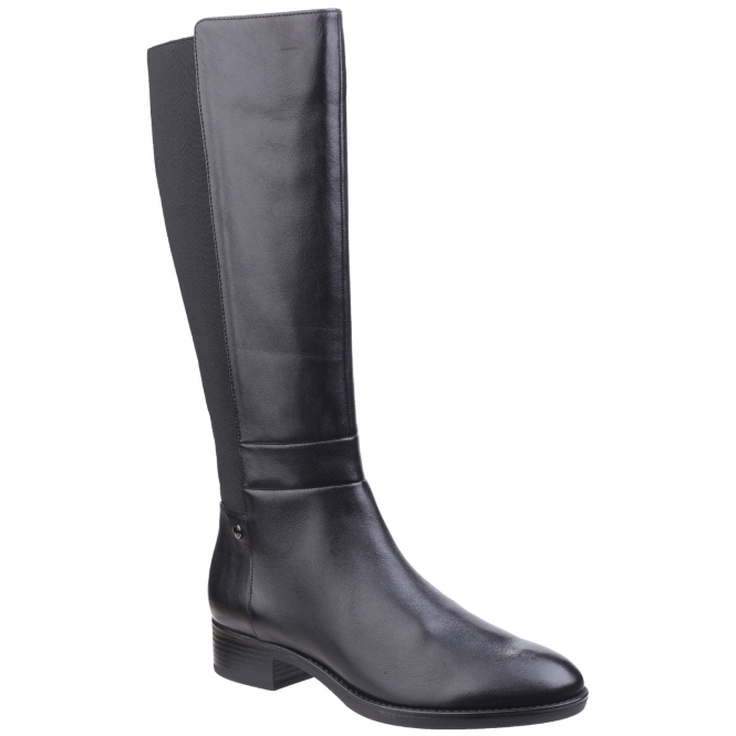 57c454a071fce GEOX FELICITY Ladies Leather Elasticated Tall Boots Black | Shuperb