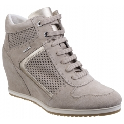 GEOX ILLUSION B Ladies Suede Wedge Heeled Trainer Shoes Taupe