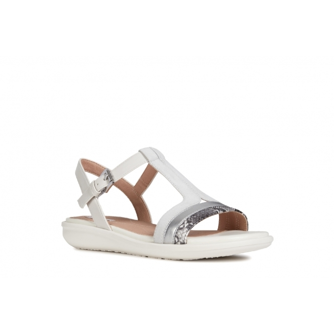 ae1e42d0bc GEOX JEARL SAND Ladies Leather T-Bar Sandals White | Shuperb