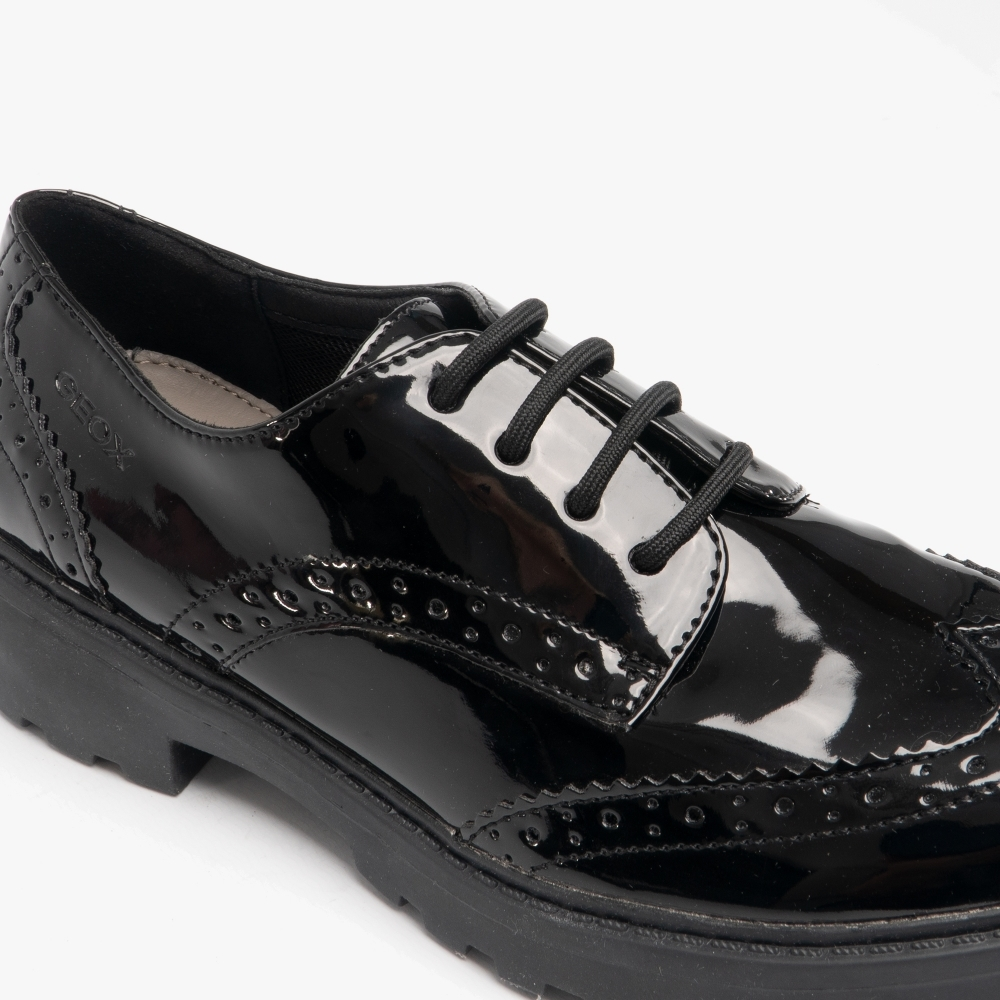 Black Geox Girls/' Jr Casey Patent Brogue School Shoes