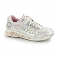 JR SHUTTLE Girls Touch Fasten Trainers Silver/Multicolour
