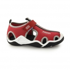 JR WADER Boys Mesh Touch Fasten Sandal Red/Grey