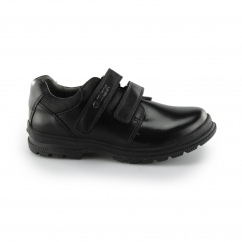Geox JR WILLIAM Boys Leather Touch Fasten Smart Shoes Black