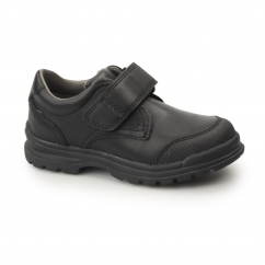 Geox JR WILLIAM Boys Single Touch Fasten School Shoes Black | Shuperb