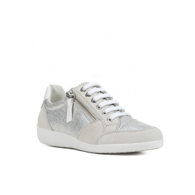 great look exclusive shoes footwear MYRIA Ladies Leather Casual Trainers Silver/Off White