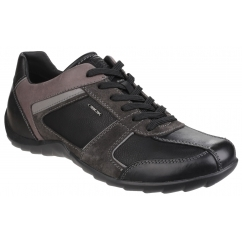 GEOX PAVEL Mens Leather Lace up Comfort Trainers Black