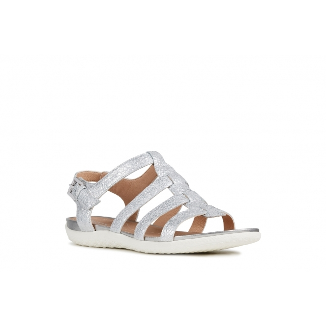 vega Sandals Strappy Silver Ladies Sand Leather rxBeodWC