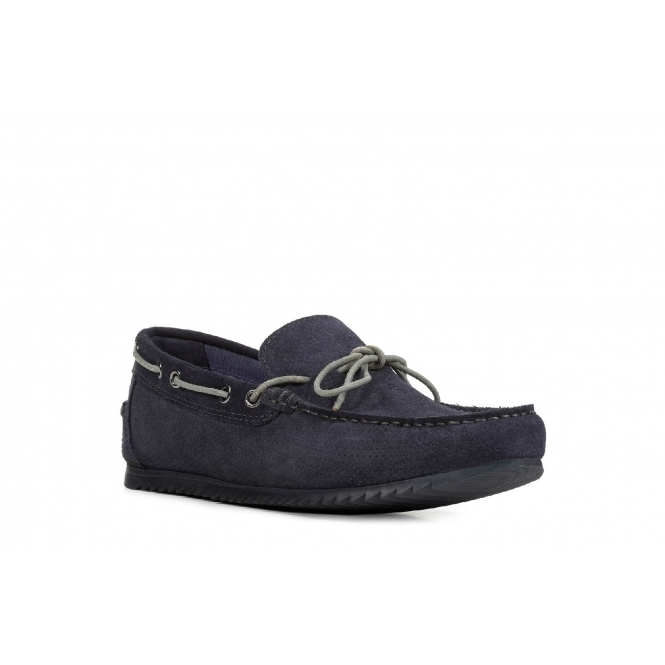stable quality newest beauty SHARK Mens Leather Slip On Moccasin Shoes Navy