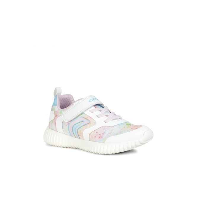 zapatillas de skate lujo mejor servicio GEOX WAVINESS Girls Touch Fasten Trainers White/Multi | Shuperb