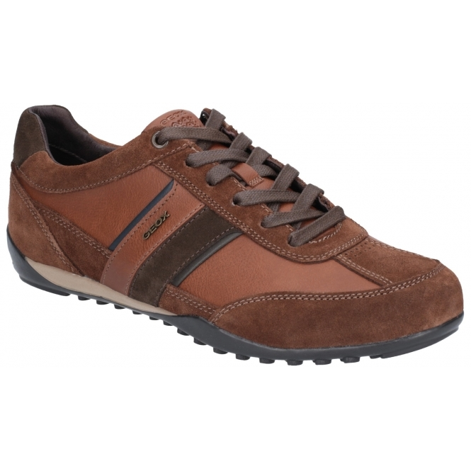 1bc9fb7fb600a5 GEOX WELLS Mens Leather Casual Trainers Brown | Shuperb