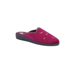 GIANINA Ladies Moon & Stars Mule Slippers Wine