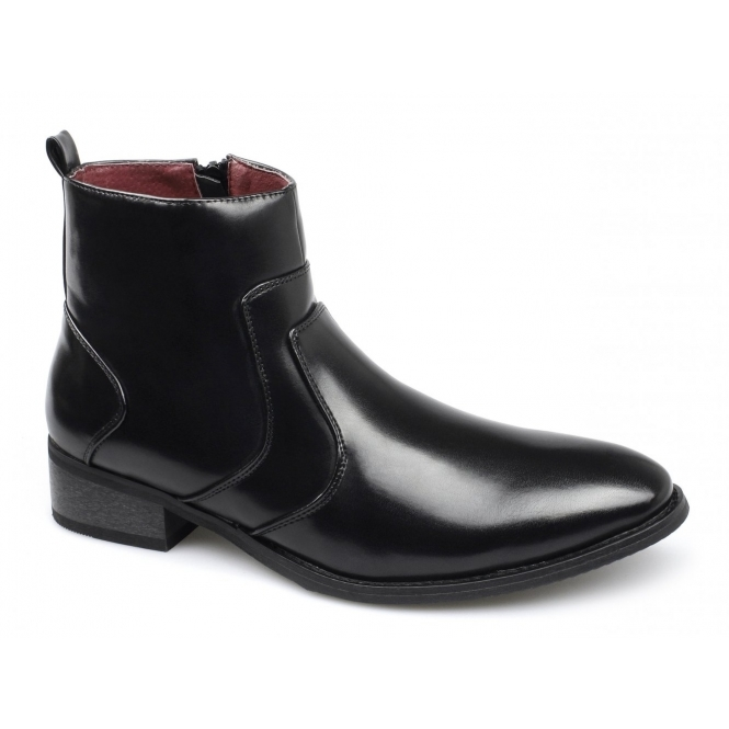 Giovanni GIDEON Mens Leather Lined Zip Boots Black