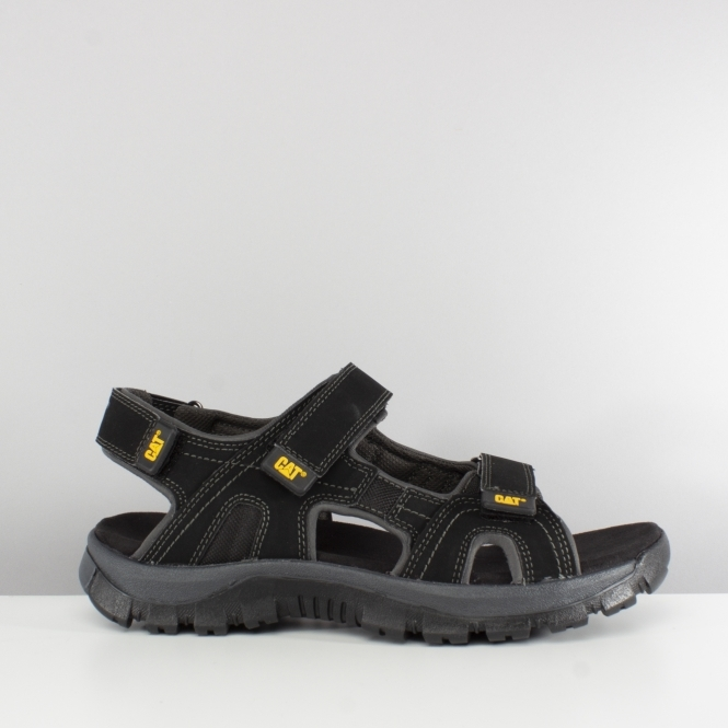 6924056fc CAT Lifestyle GILES Mens Leather PU Touch Fasten Sandals Black