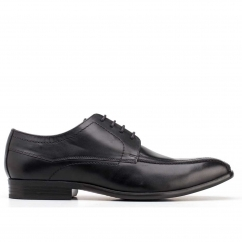 Base London GILMORE Mens Waxy Leather Lace Up Derby Shoes Black