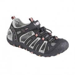 GINA Girls Faux Nubuck Toggle Velcro Sports Sandals Black/Pink