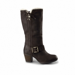 GIOIA MOORLAND Ladies Mid Calf Leather Boots Dark Brown