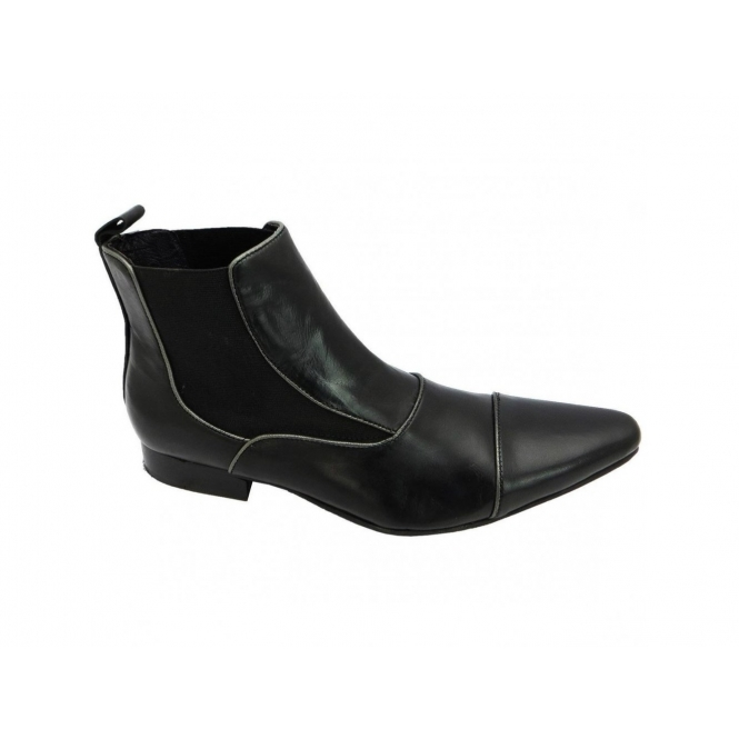 Gucinari GIORGIO Mens Leather Pointed Chelsea Boots Black