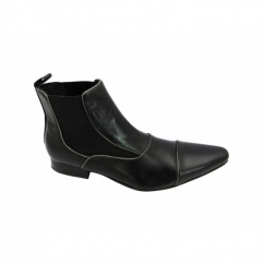 GIORGIO Mens Leather Pointed Chelsea Boots Black