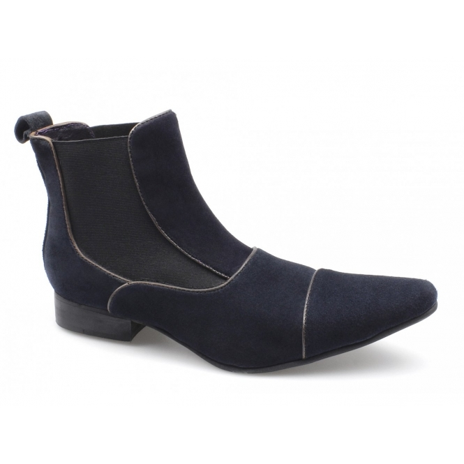 Gucinari GIORGIO Mens Suede Pointed Chelsea Boots Navy