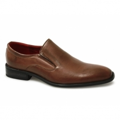 ALFIE Mens Faux Leather Slip On Casual Shoes Tan
