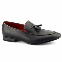 LUIGI Mens Faux Leather Tassel Loafers Black
