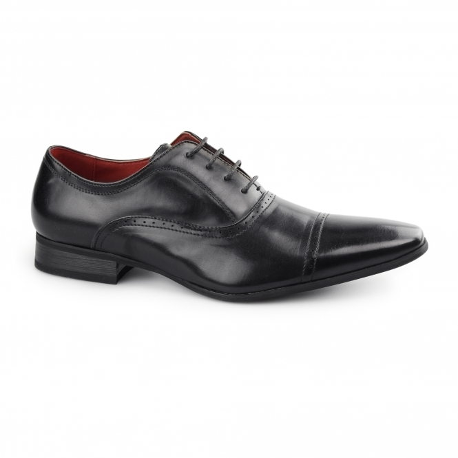 Giovanni MARTINEZ Mens Chisel Toe Lace-Up Oxford Shoes Black
