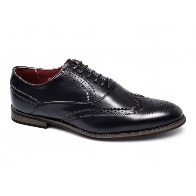 111ac9a88fe MATTEO Mens Faux Leather Brogue Shoes Black