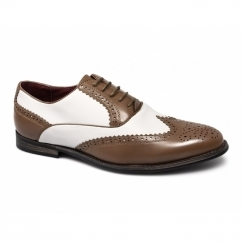 MATTEO Mens Funky Faux Leather Brogue Shoes Brown/White